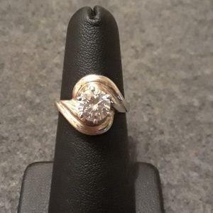 Sterling Silver Diamonique Solitaire Ring Sz 6